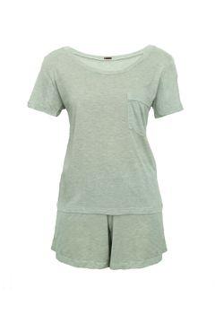 Pijama-Short-Camiseta---Verde-Claro--frente--low-