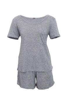 Pijama-Short-Camiseta---Azul-Mescla--frente--low-