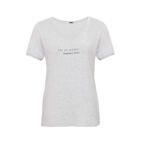 "T-shirt Silk ""Faz as malas"" Mescla"