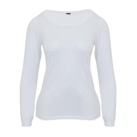 Camisa Manga Longa Malha Tricozada Branca