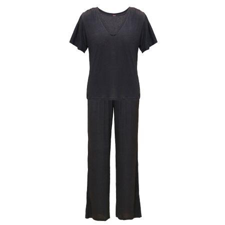Pijama Longo Preto Viscolinho