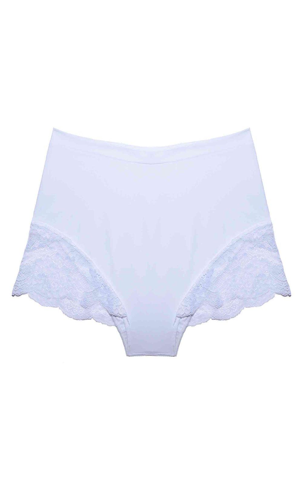 Foto 1 - Calcinha Hot Pants Renda/Tech Pro Branca