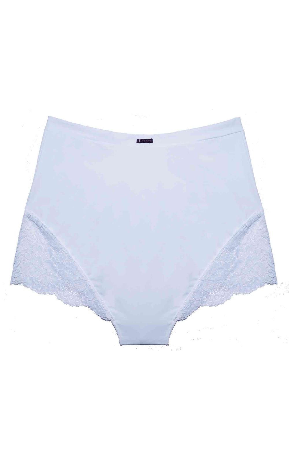 Foto 2 - Calcinha Hot Pants Renda/Tech Pro Branca