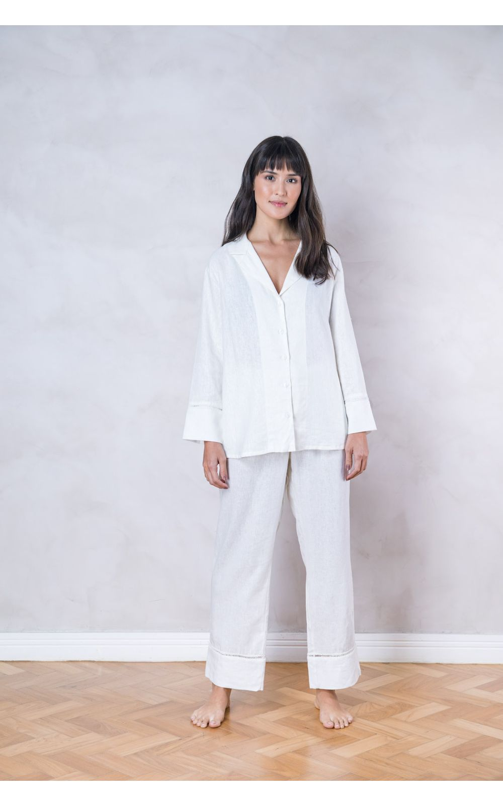 b5a494933 Pijama Longo Linho Branco