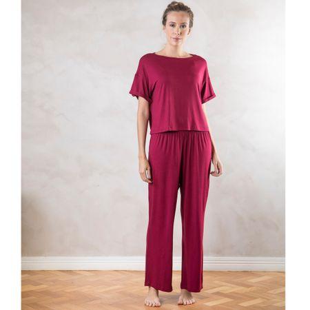 Pijama Longo Amplo com dobra Bordô