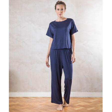 Pijama Longo Amplo com dobra Marinho