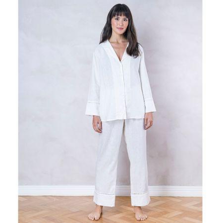 Pijama Longo Linho Branco