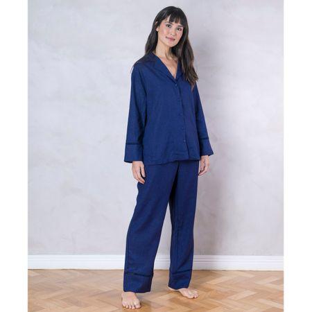 Pijama Longo Linho Marinho