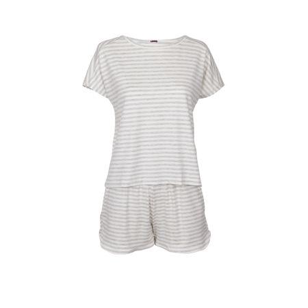 Pijama Curto Listrado Mescla/Off