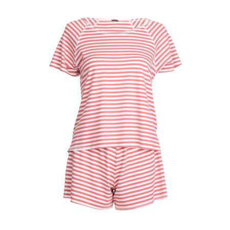 Pijama Curto Listrado Goiaba/Off