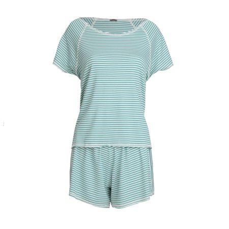 Pijama Curto Listrado Verde/Off